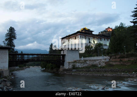 Paro Dzong, an architecture jewel in Bhutan - Stock Photo