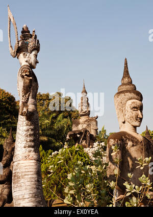 Concrete statues in Xieng Khuan (Buddha Park), Vientiane, Laos P.D.R. Buddha Park was created by Luang Pou Bounlua - Stock Photo