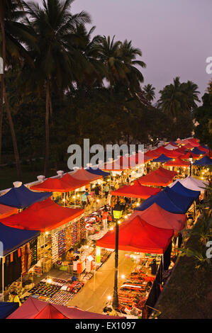 Night Market from above. Luang Prabang, Laos - Stock Photo