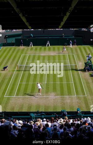 Wimbledon, UK. 03rd July, 2015. The Wimbledon Tennis Championships. Ladies Singles third round match between fourth - Stock Photo