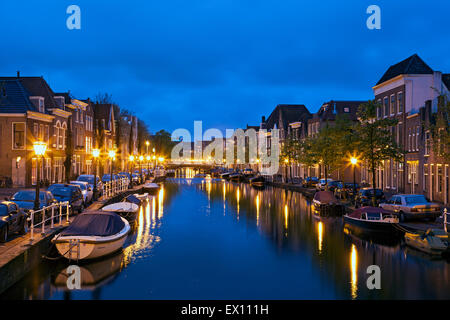 Houses, boats canal, Leiden, Holland, The Netherlands - Stock Photo