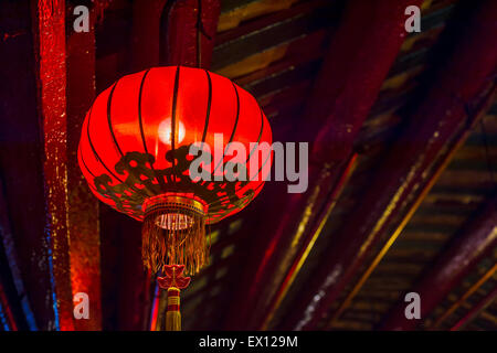 Chinese lanterns in a buddhist temple in Hong-Kong - Stock Photo