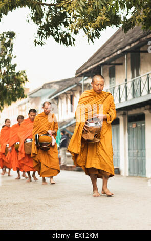 Monks processing for alms in the early morning, a 1,000-year old tradition in Luang Prabang, Laos.. - Stock Photo