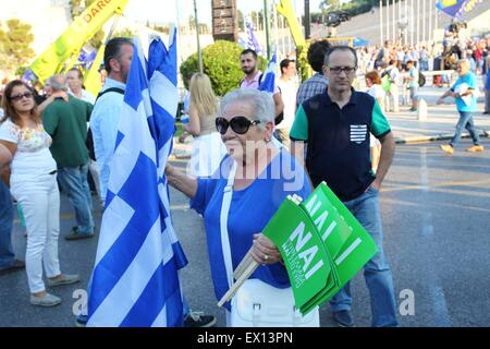 Athens, Greece. 03rd July, 2015. Demonstration in Kalimarmaro Satadium in support of a 'YES' vote for the Referendum - Stock Photo