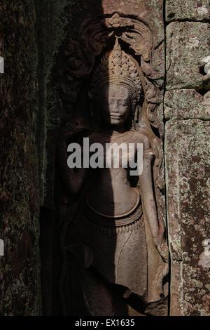 Apsara relief at prasat Bayon, Angkor Thom temple. - Stock Photo