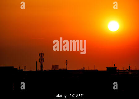 Antenna with silhouette - Stock Photo