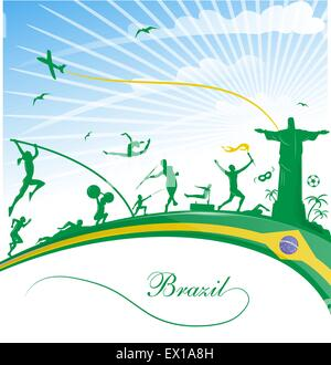 brazil background with flag and sport symbol - Stock Photo