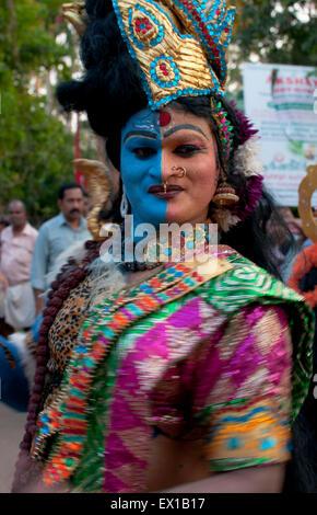 indian god, temple parade, varkala, kerala, south india, asia - Stock Photo