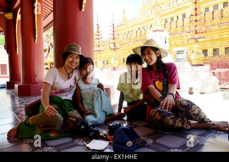 The golden Shwezigon Pagoda or Shwezigon Paya is a Buddhist temple located in Nyaung-U, a town near Bagan, in Burma - Stock Photo