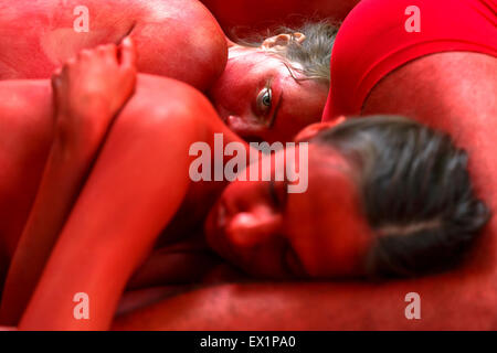Activist PETA and AnimaNaturalis protest in Pamplona. 4th of July. 2015. Before San Fermin festival. Spain. Europe - Stock Photo