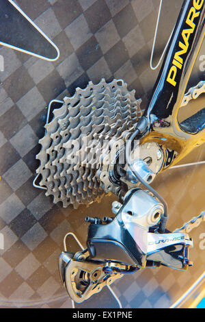 Rear wheel gear set on bicycle. Bicycle is Bradley Wiggins time trial bike - Stock Photo