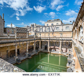 The Roman Baths complex, a site of historical interest in the English city of Bath, Somerset, England. - Stock Photo