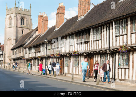 Old buildings in Church Street, Stratford upon Avon, UK. - Stock Photo