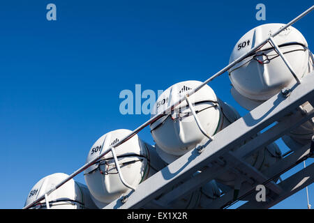 Rows of self-inflating life rafts on board a British Columbia passenger ferry - Stock Photo