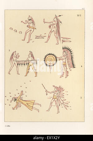 Battle scenes of the decorated robe of Mandan second chief Mah-to-toh-pa, Four Bears. Killing a Sioux warrior with - Stock Photo