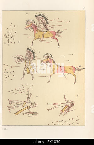Battle scenes of the decorated robe of Mandan second chief Mah-to-toh-pa, Four Bears. Mah-to-toh-pa fighting a party - Stock Photo