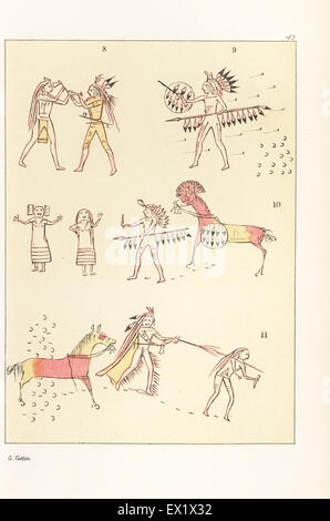 Battle scenes of the decorated robe of Mandan second chief Mah-to-toh-pa, Four Bears. Victory over a Cheyenne chief - Stock Photo