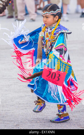 Native American girl takes part at the 26th Annual Paiute Tribe Pow Wow in Las Vegas - Stock Photo