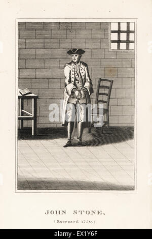 John Stone, executed in 1750 for arson committed for his employer John Collington. Copperplate engraving from John - Stock Photo