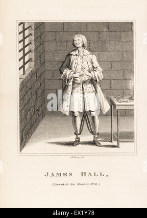 James Hall, executed for the murder of his employer in 1741. In shackles in his prison cell. Copperplate engraving - Stock Photo