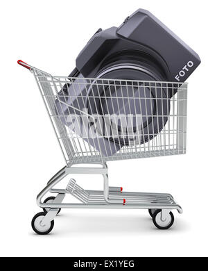 Camera in shopping cart - Stock Photo