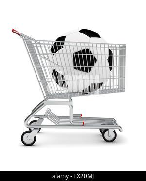 Football in shopping cart - Stock Photo