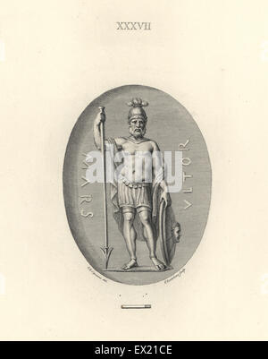 Mars, Roman god of war, standing with helmet, spear, shield, cloak and leather skirt. Copperplate engraving by Francesco - Stock Photo