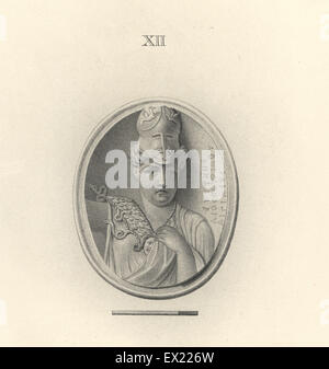 Minerva, Roman goddess of wisdom, in Corinthian helmet, the work of Eutychis, the Aegean. Copperplate engraving - Stock Photo