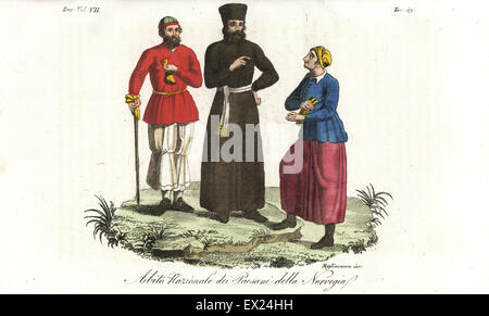 National dress of the peasants of Norway, including a farmer who looks like an Armenian ecclesiastic, 18th century. - Stock Photo