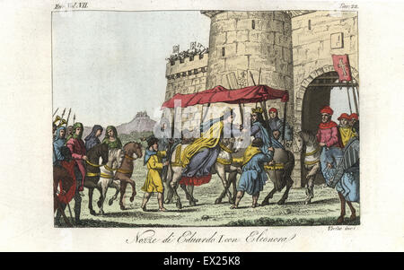 Wedding of 14-year-old Prince Edward (later King Edward I of England) and 11-year-old Eleonor of Castile at the monastery of Las Huelgas, Burgos, 1254. Handcoloured copperplate engraving by Verico from Giulio Ferrario's Costumes Ancient and Modern of the Peoples of the World, Florence, 1847.