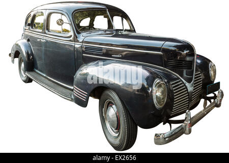 Side view of Dodge four door Sedan 1939 vintage luxury car, isolated on white background. - Stock Photo