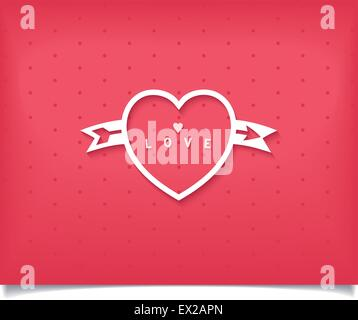 Creative white symbol of love - heart with arrow and word on red background. Vector illustration eps10 - Stock Photo
