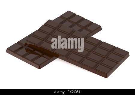 two chocolate bars isolated on white background - Stock Photo
