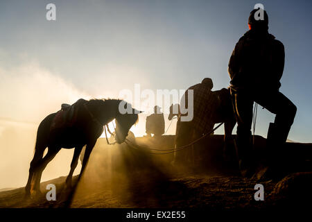 Silhouettes of men and the horses on the top of the hill with misty atmosphere - Stock Photo
