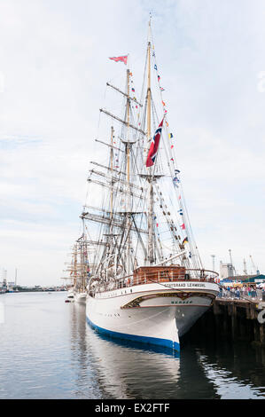 The Tall Ship Statsraad Lehmkuhl docked in Belfast as part of the Tall Ships festival - Stock Photo