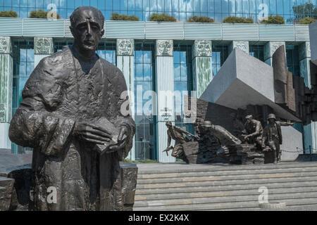 1944 Warsaw Uprising Monument located outside the Supreme Court building, Krasiński Square, Warsaw, Poland - Stock Photo