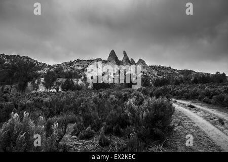 Black and White Landscape Utah Cottonwood Canyon Road Escalante - Stock Photo