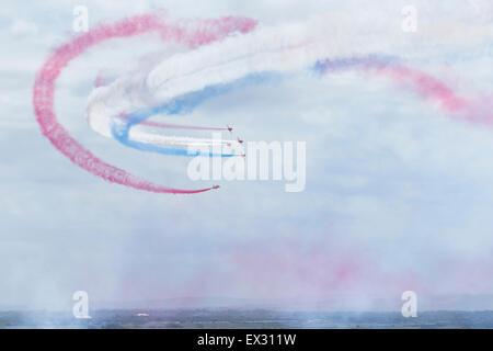 RAF Red Arrows aerobatic display team above Weston super Mare - Stock Photo