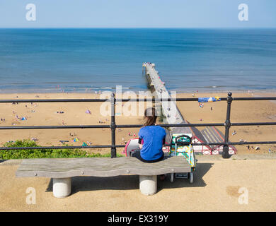 View over Saltburn beach an Victorian pier from upper promenade. Saltburn by the Sea, North Yorkshire, England, - Stock Photo