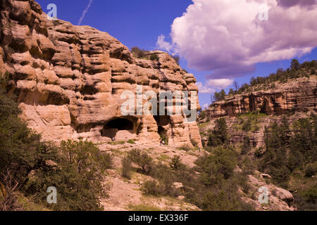 Gila Cliff Dwellings National Monument preserves stone and mortar structures built into natural caves by the Mogollon - Stock Photo
