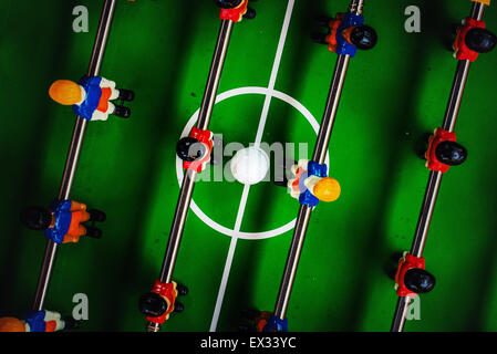 Table Soccer or Football Kicker Game, Top View, Selective Focus, Retro Tone Effect - Stock Photo