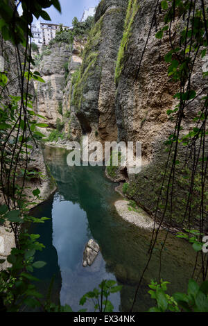 Guadalevin river at El Tajo Gorge from the Arab fortress secret water mine in Ronda Spain - Stock Photo
