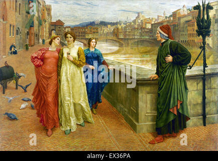 Henry Holiday, Dante and Beatrice 1882-1884 Oil on canvas. Walker Art Gallery, Liverpool, England. - Stock Photo