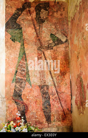 English ruined medieval castle, Farleigh Hungerford. The middle ages chapel, wall painting of St George from 1440 - Stock Photo