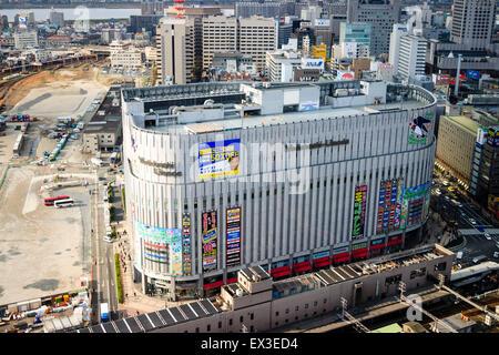 Japan, Osaka, Umeda. Aerial view of the Umeda branch of the Yodobashi Camera, computer store - Stock Photo