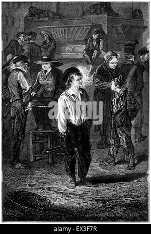 The boy Gavroche from the victor Hugo book Les Misérables, drawn in the 1880s. - Stock Photo