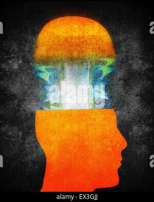 creativity concept illustration with orange human head - Stock Photo