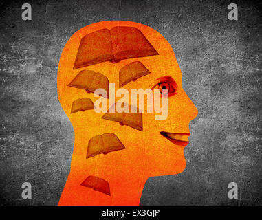 reading book illustration concept with human head and books - Stock Photo
