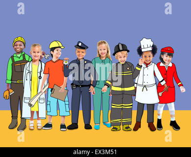 Children Kids Dream Jobs Diversity Occupations Concept - Stock Photo