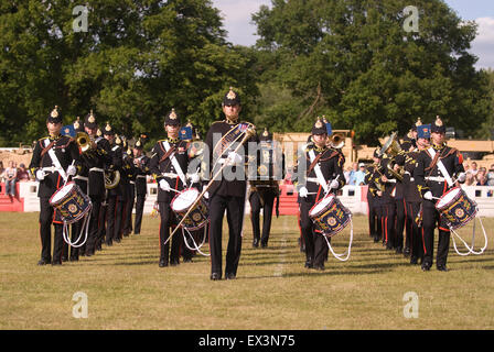 Band of the Royal Logistics Corps Beating Retreat at the Farewell to the Garrison Festival, Bordon, Hampshire, UK. - Stock Photo